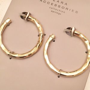"NWT Zara Gold 2"" Hoops Earrings - Textured."